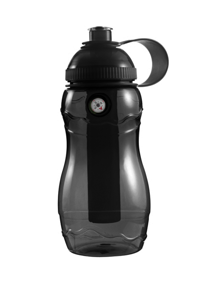 Plastová láhev s kompasem - Černá univerzal