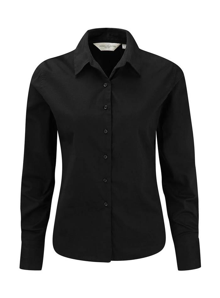 Dámská košile Twill s dlouhým rukávem - Černá S