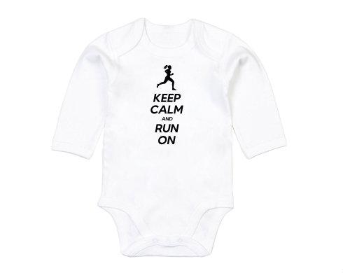 Levně Keep calm and run on Dětské body dlouhý rukáv BIO