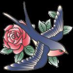 Ptáček s růží