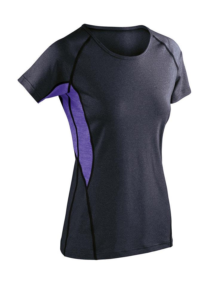 Dámské sportovní tričko Spiro - Šedá a fialová XXL