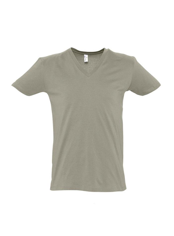 Tričko s výstřihem do V - Khaki S