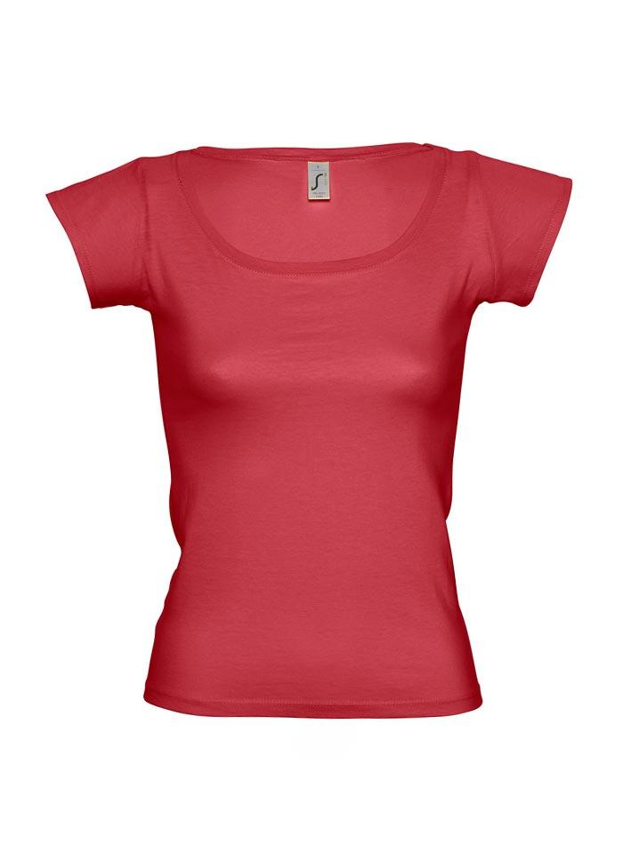 Tričko s širokým výstřihem - Červená S