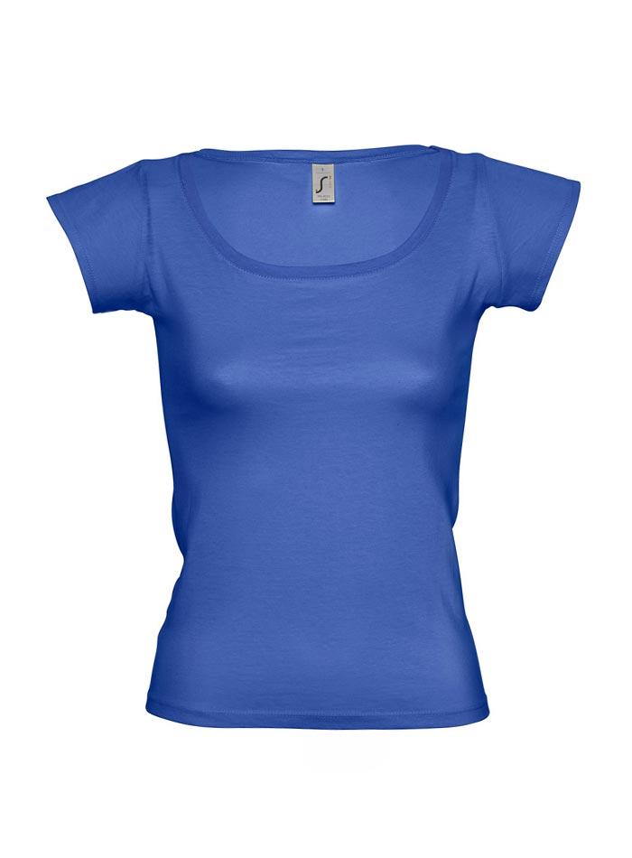 Tričko s širokým výstřihem - Královská modrá S