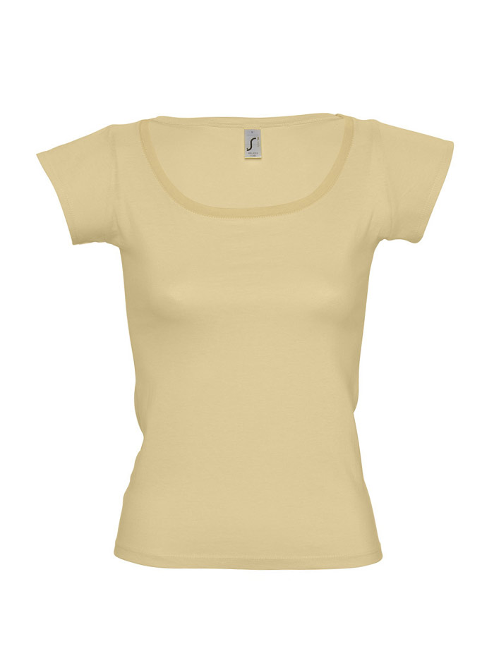 Tričko s širokým výstřihem - Béžová S