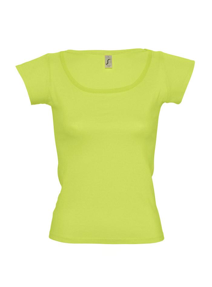 Tričko s širokým výstřihem - jablíčkově zelená S