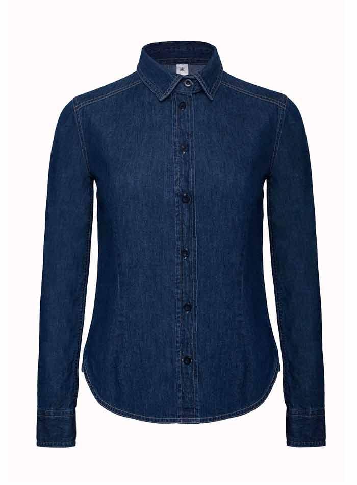 Džínová košile dlouhý rukáv - Džínovina modrá XS