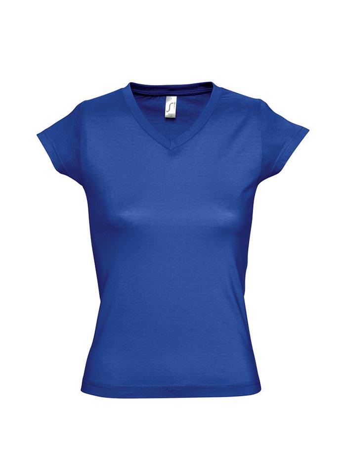 Tričko s výstřihem do V - Královská modrá XXL