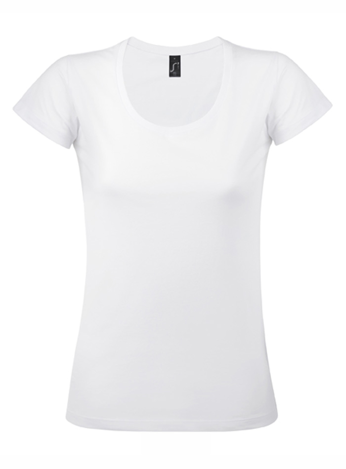 Tričko s velkým výstřihem - Bílá S