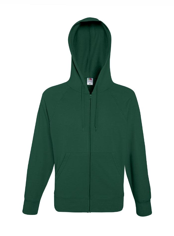 Lehká mikina s kapucí na zip - Lahvově zelená S