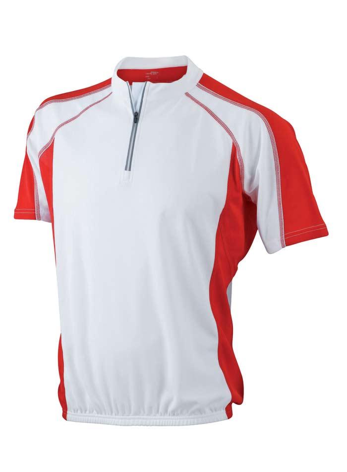 Cyklistické tričko James & Nicholson - Bílá/červená S