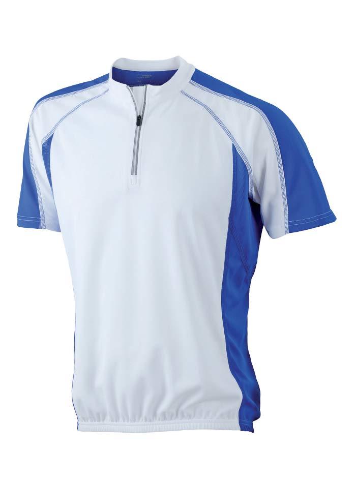 Cyklistické tričko James & Nicholson - Bílá/Modrá M