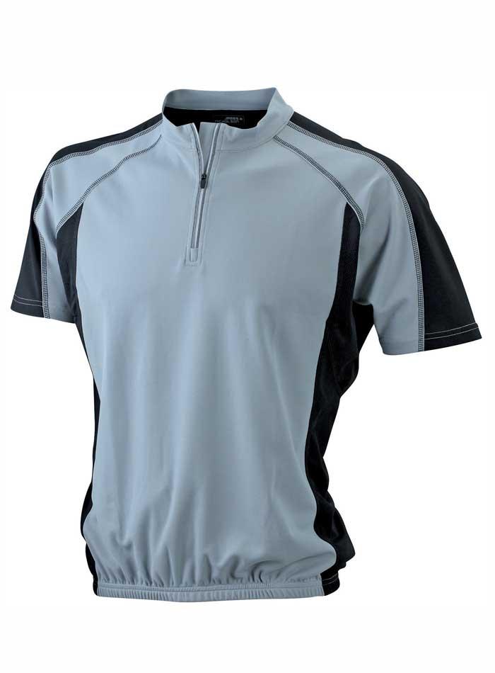 Cyklistické tričko James & Nicholson - Šedá a černá S