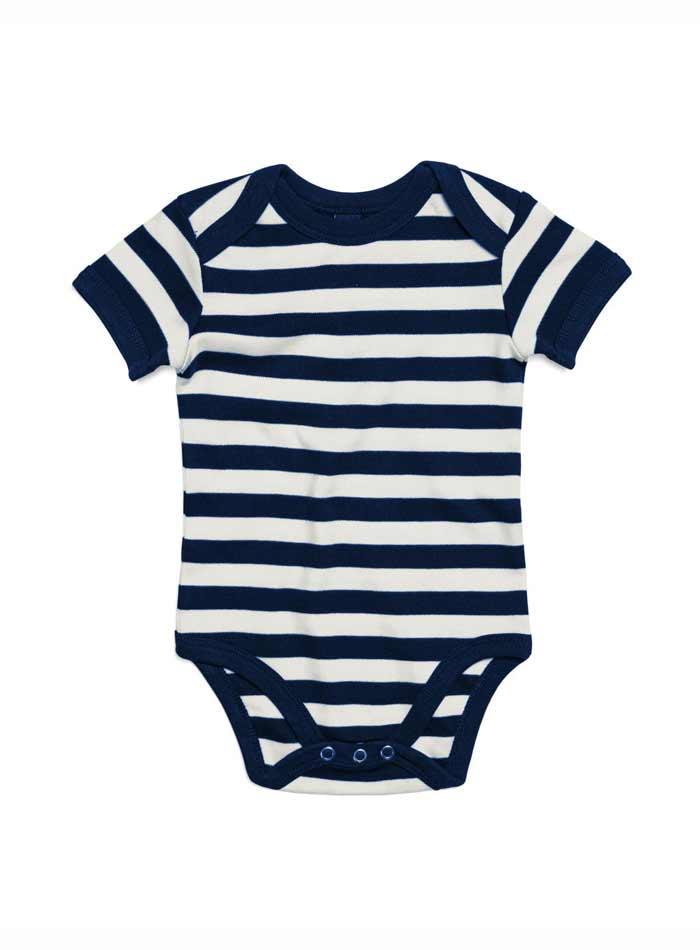Pruhované dětské body - Bílá a temně modrá 3-6m
