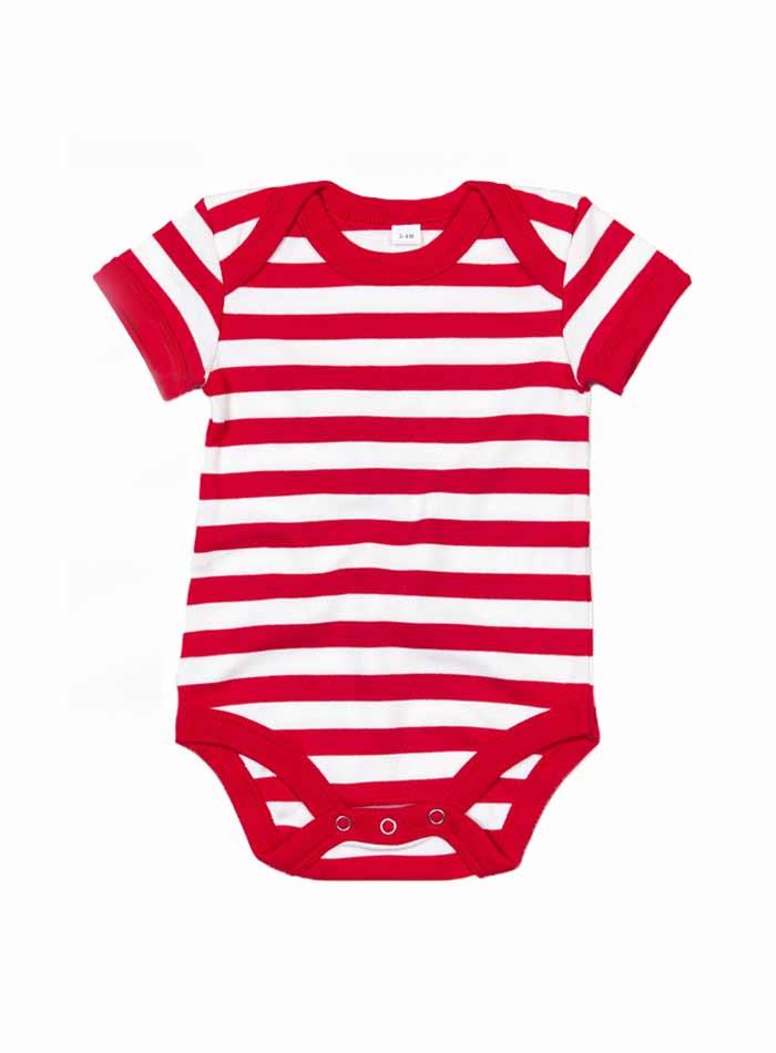 Pruhované dětské body - Bílá/červená 6-12m