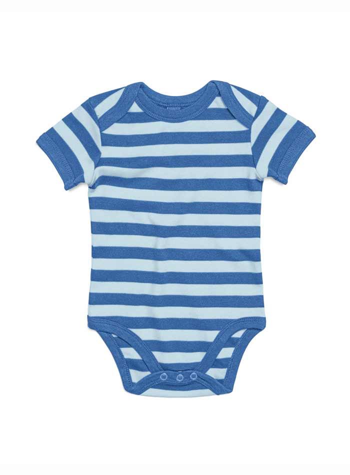 Pruhované dětské body - Antique Blue/Dusty Blue 0-3m