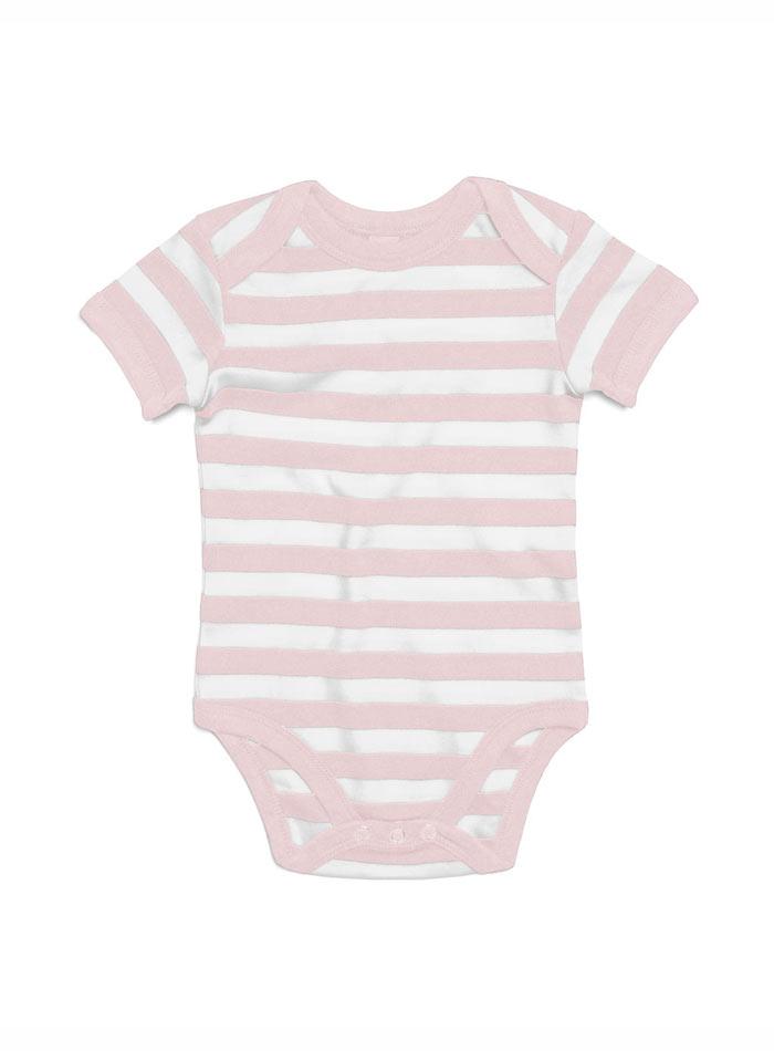Pruhované dětské body - Růžová a bílá 0-3m