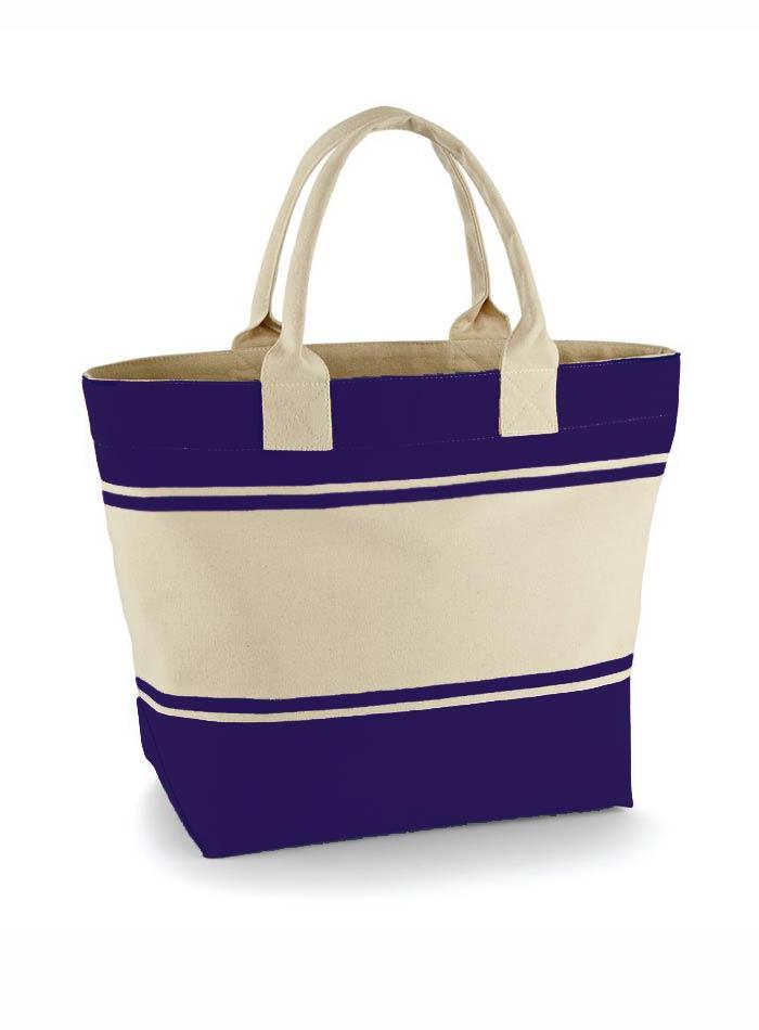 Velká plátěná plážová taška - Modrá a béžová univerzal