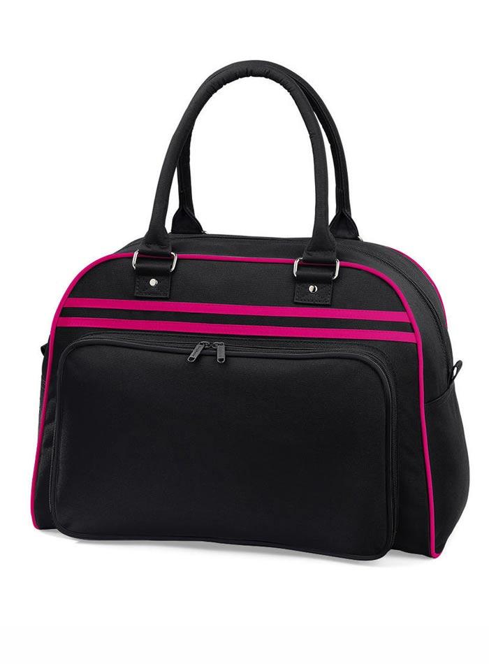 Prostorná retro taška - Černá a růžová univerzal