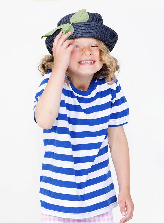 Hravé tričko s pruhy - Bílá a modrá 4-5