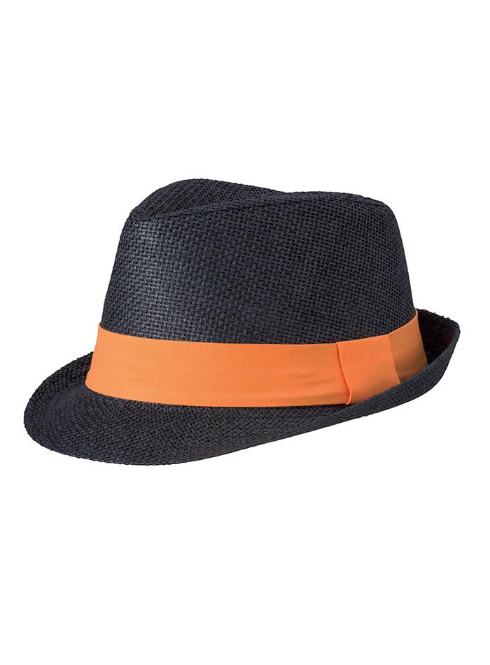 Barevný slamák unisex - Černá a oranžová S/M