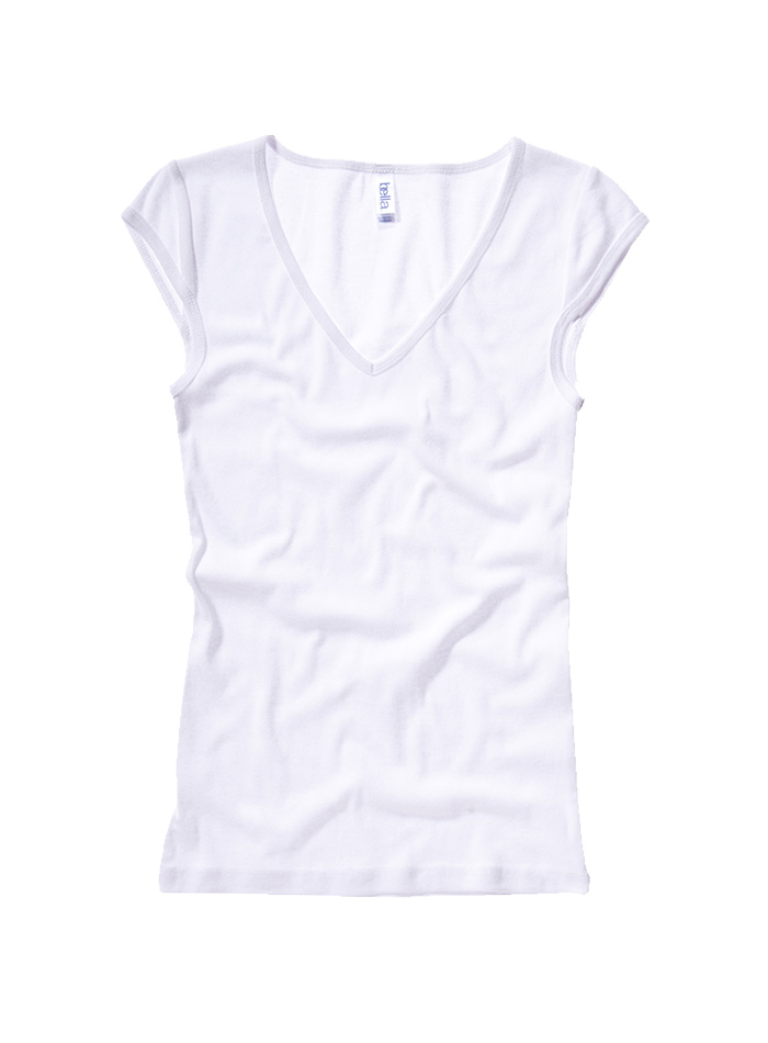 Tričko s hlubokým výstřihem - Bílá S
