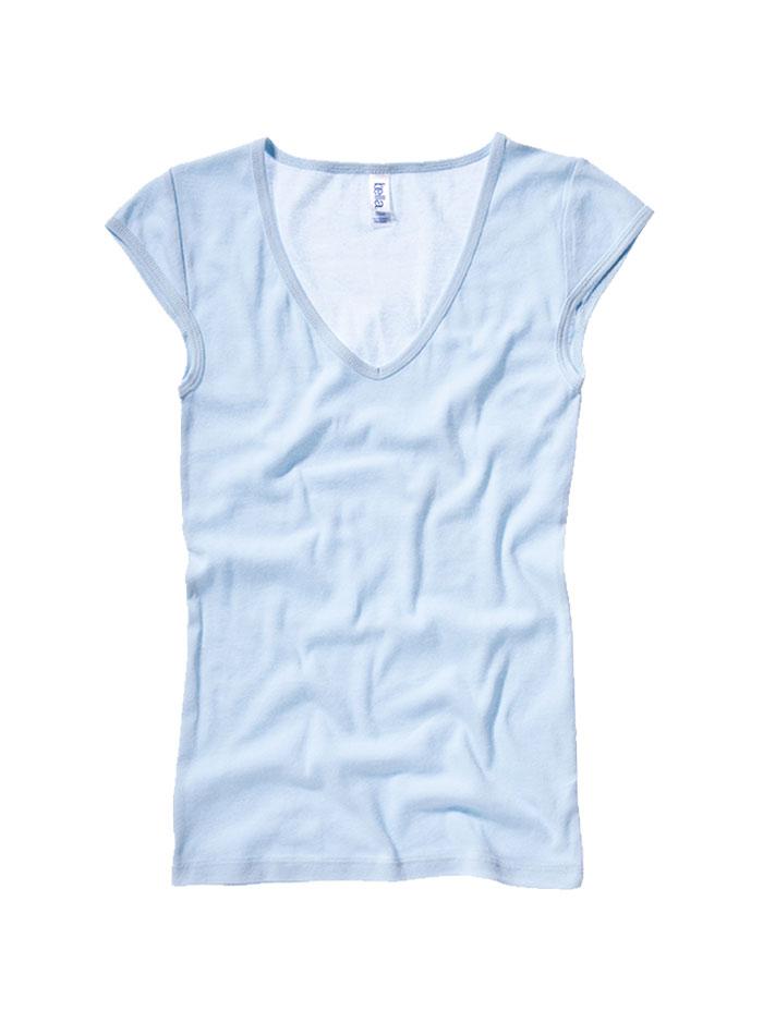 Tričko s hlubokým výstřihem - Bledě modrá S
