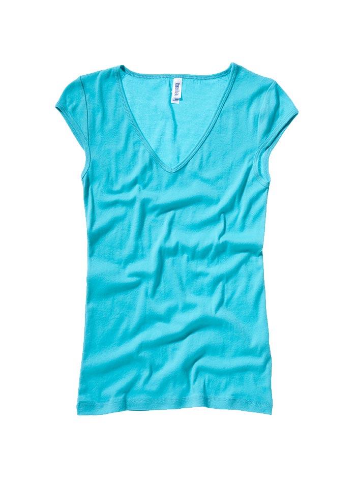 Tričko s hlubokým výstřihem - Tyrkysová S