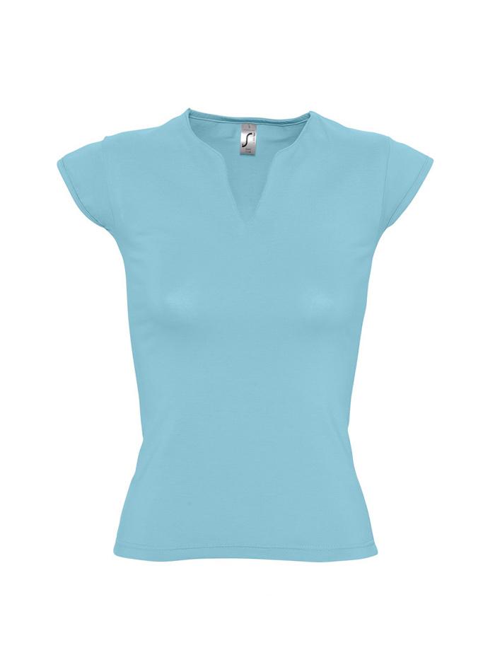 Tričko s nevšedním výstřihem - Ledově modrá S