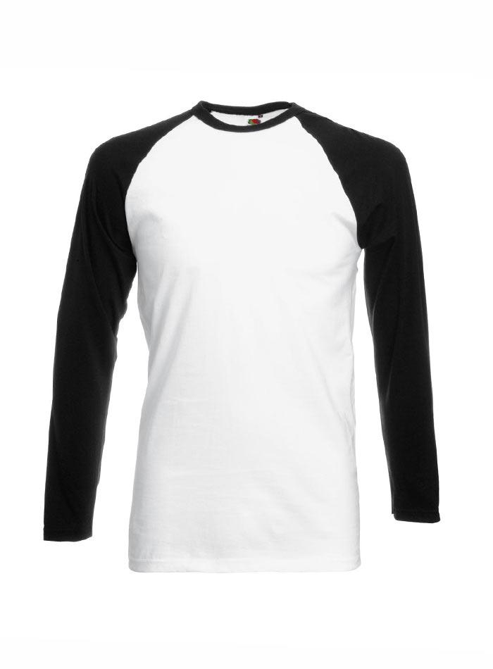 Tričko Baseball s dlouhým rukávem - bílá/černá XL
