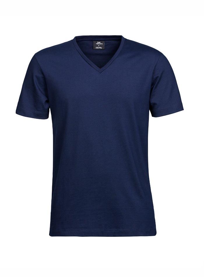 Prémiové tričko s výstřihem do V - Námořní modrá 3XL
