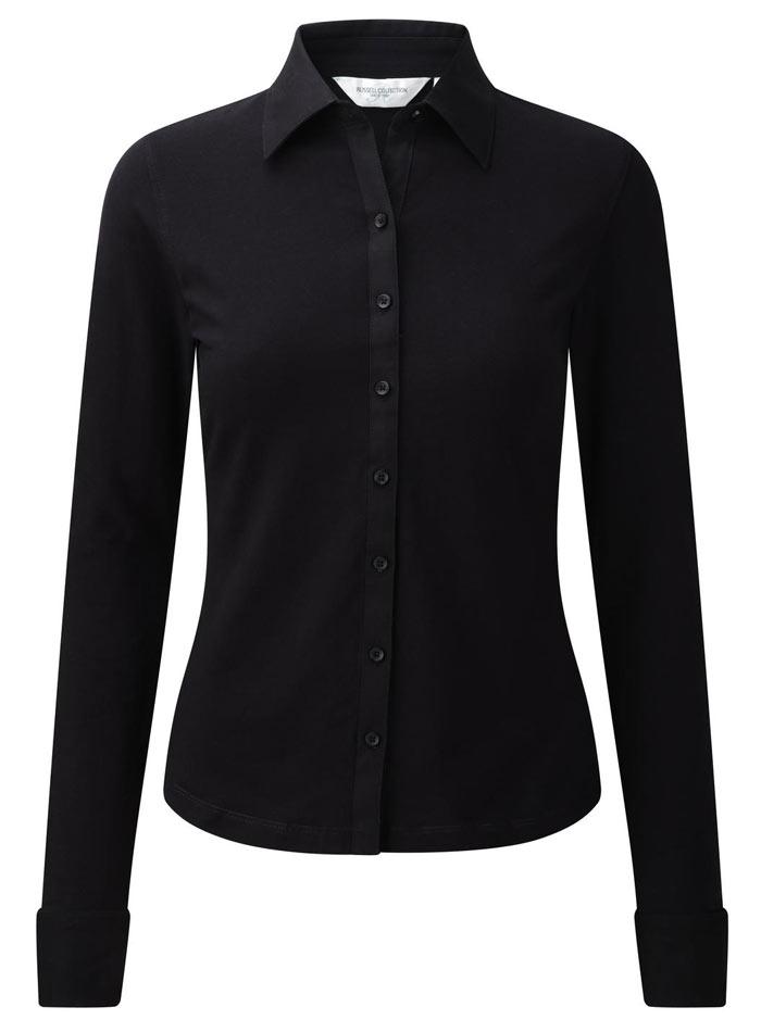 Košile s dlouhým rukávem Stretch - Černá S