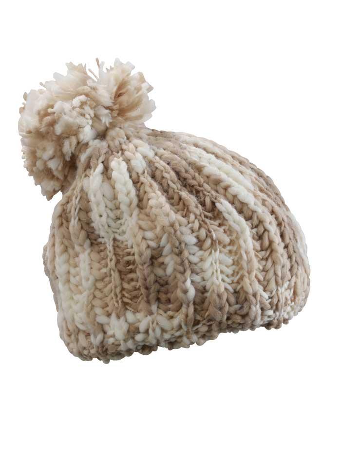Pletená čepice s bambulí - Béžová a bílá univerzal