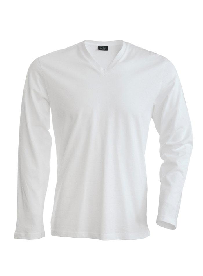 Tričko s dlouhým rukávem a výstřihem do V - Bílá XL