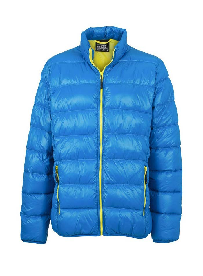 Pánská péřová bunda - Azurová a žlutá S