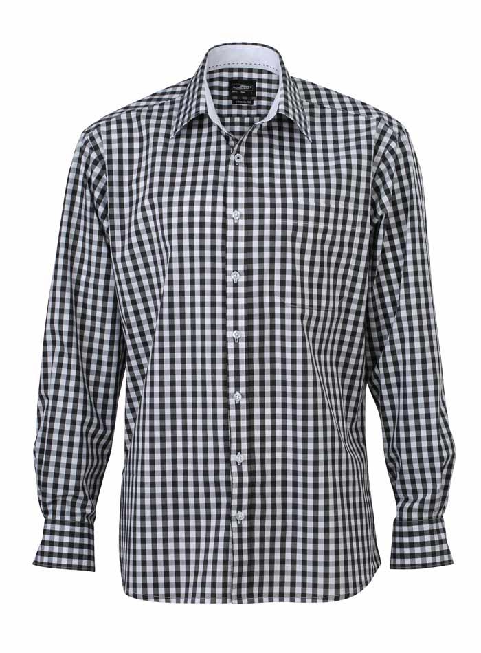 Pánská kostkovaná košile - Černá S