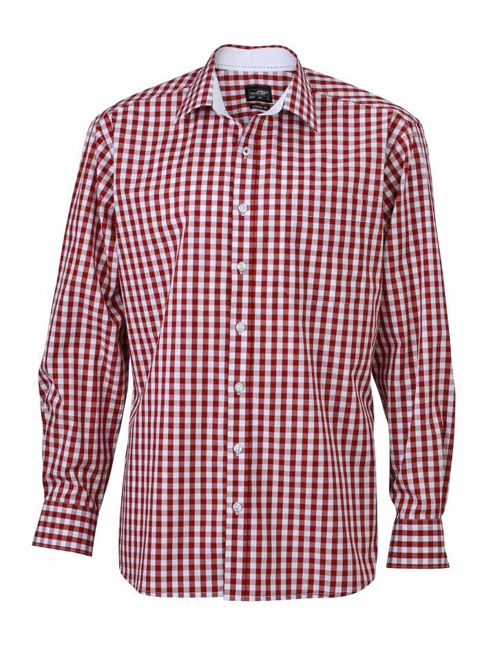 Pánská kostkovaná košile - bordó S