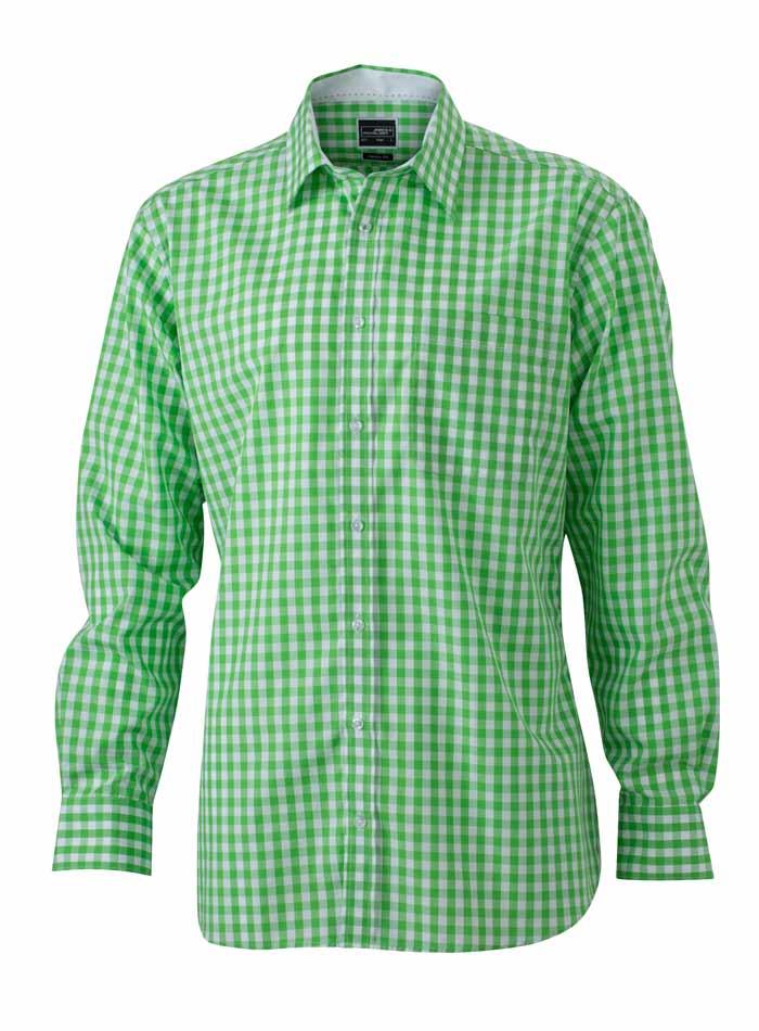 Pánská kostkovaná košile - Zelená S