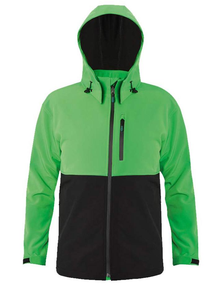Pánská softshell bunda s kapucí - Zelená a černá S