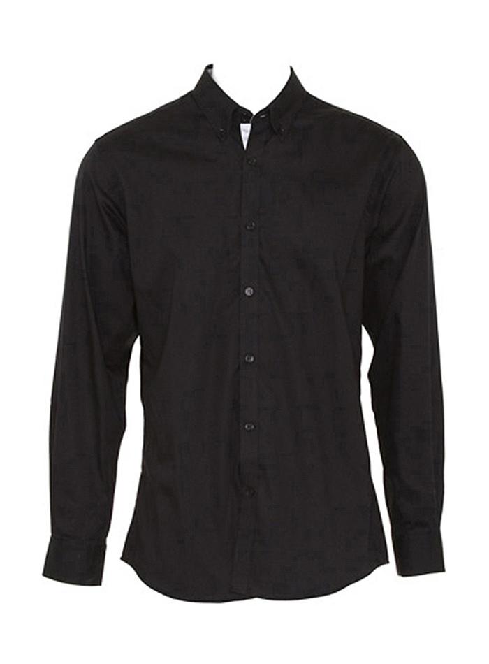 Pánská košile s dlouhými rukávy Contrast - Černá a šedá XXL