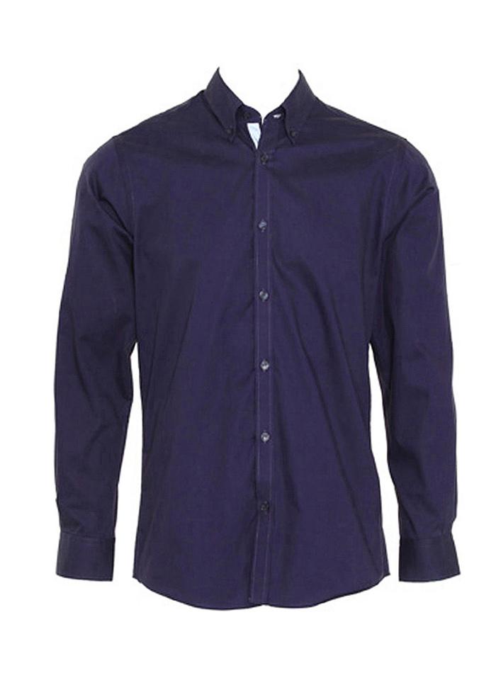 Pánská košile s dlouhými rukávy Contrast - Námořnická a modrá XXL