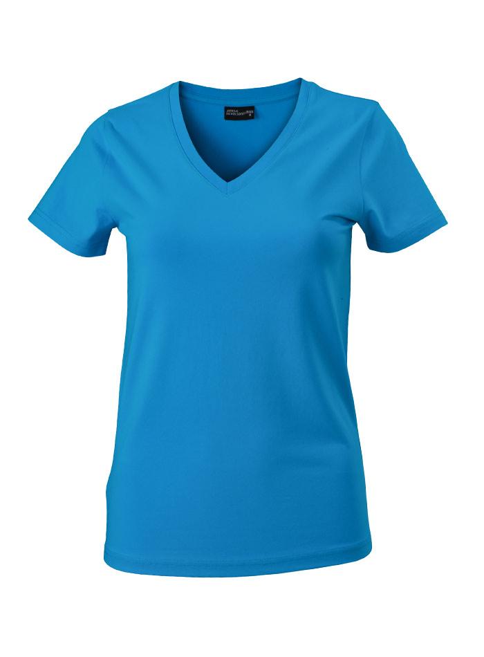 Dámské tričko s moderním výstřihem do V - Tyrkysová S