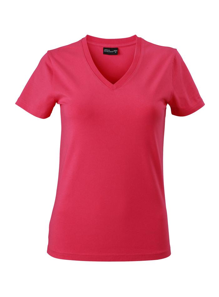 Dámské tričko s moderním výstřihem do V - Růžová S