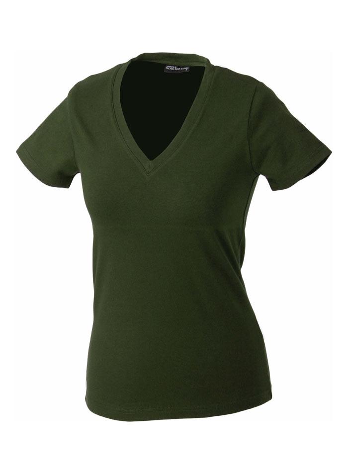 Dámské tričko s moderním výstřihem do V - Olivově zelená S