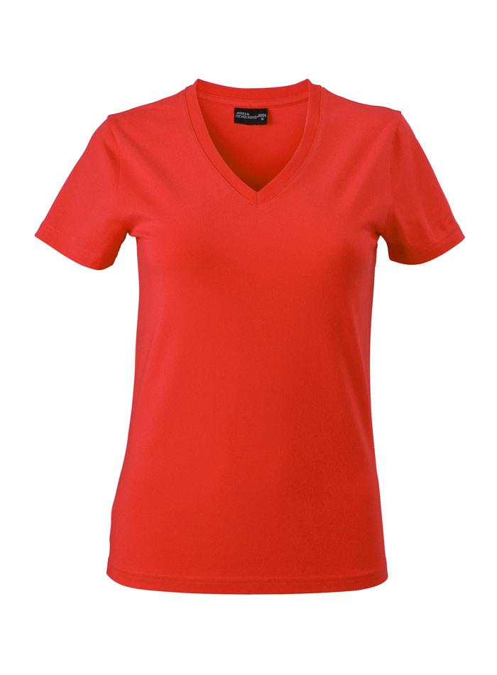 Dámské tričko s moderním výstřihem do V - Červená S