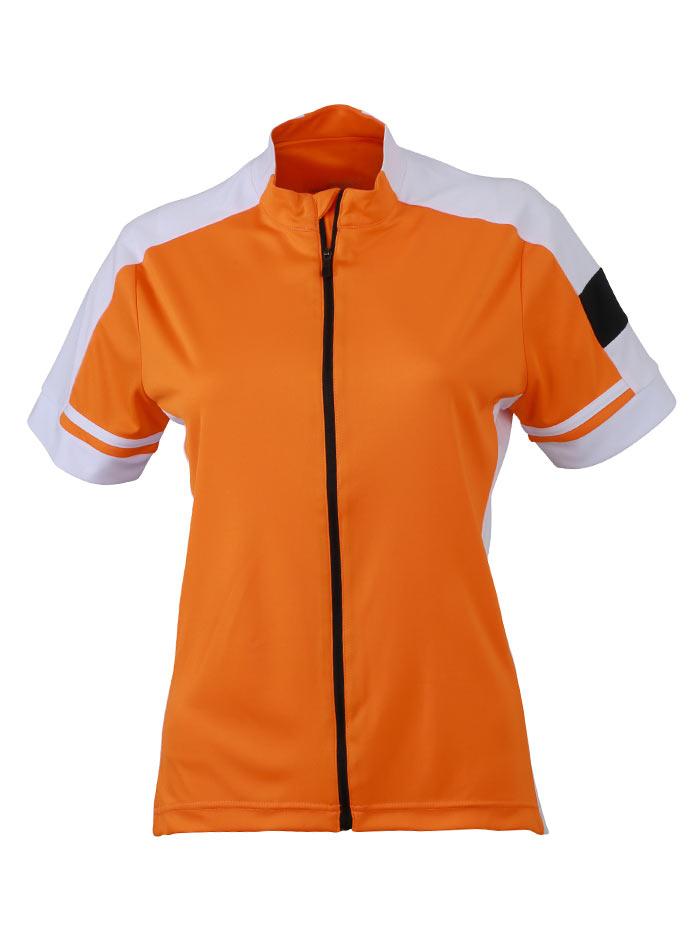 Dámské cyklistické tričko na zip - Oranžová S