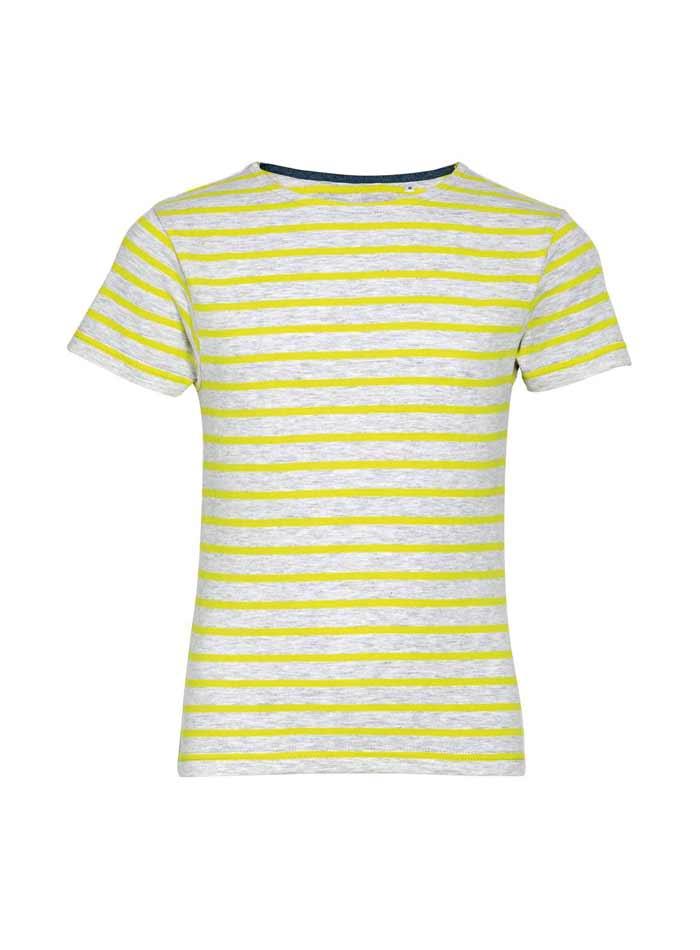 Dětské pruhované tričko - Šedá a žlutá 104 (3-4)