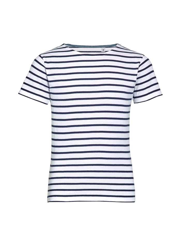 Dětské pruhované tričko - Bílá a temně modrá 104 (3-4)