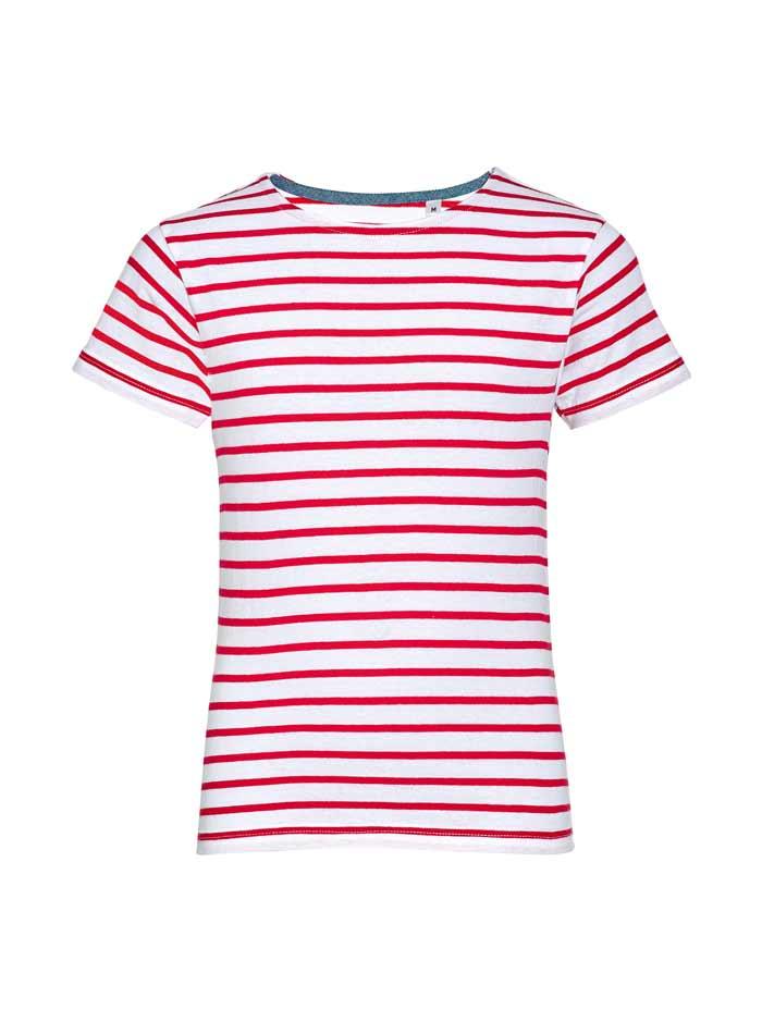Dětské pruhované tričko - Bílá/červená 104 (3-4)