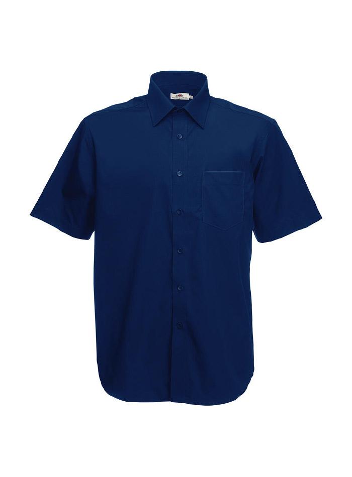 Pánská košile z popelínu - Námořní modrá S